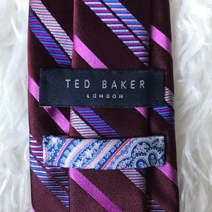 Ted Baker maroon pink blue silk striped tie